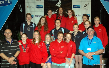 Nelson Marlborough swimmers and coaches at Short Course Champs 2013